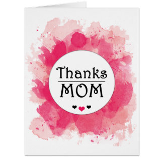 Thank You MOM Watercolor Pink Heart Card