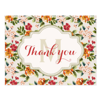 Thank You - Monogram Elegant Beautiful Floral Postcard