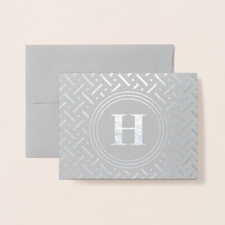 Thank You Monogram Geometric Pattern Foil Card