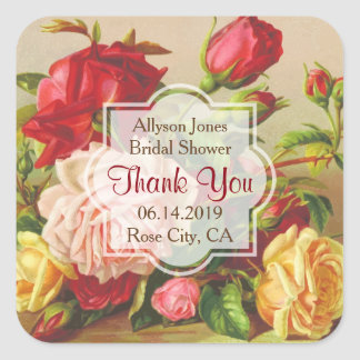 Thank You Monogram Vintage Victorian Roses Wedding Square Sticker