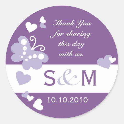 Thank You Monogram Wedding Favor Labels Round Sticker