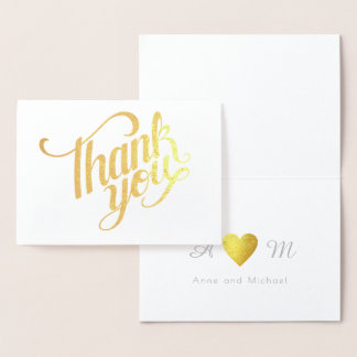 thank you monogrammed wedding foil card