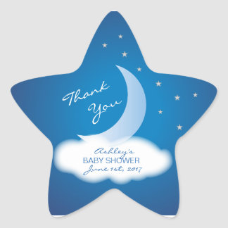 Thank You Moon and Stars Baby Shower - Blue/White Star Sticker
