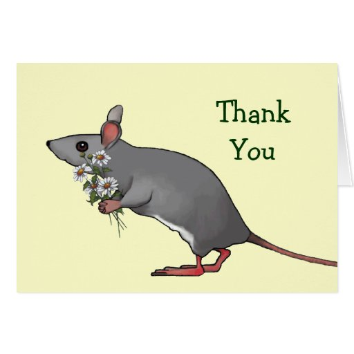 Thank You: Mouse Carrying Bouquet of Daisies Greeting Card