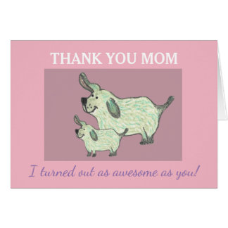 Thank you Mum Card with cute Dogs