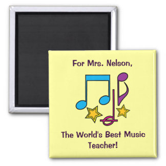 Thank You Music Teacher Customizable Notes & Stars Square Magnet