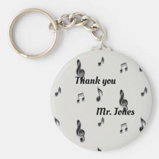 Thank You Music Teacher Musical Note Pattern Key Ring