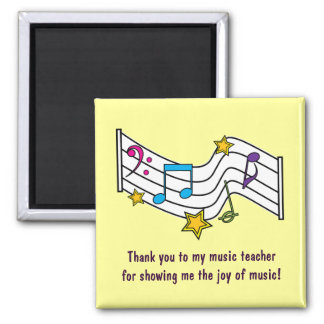 Thank You Music Teacher with Notes and Stars Magnet