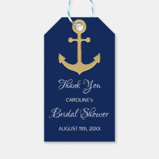 THANK YOU Nautical Navy Blue Anchor BRIDAL SHOWER Gift Tags