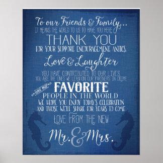 thank you nautical navy blue wedding  sign