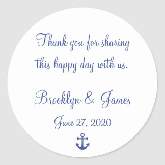 Thank You Nautical Wedding Stickers