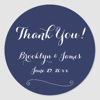 Thank You Navy Blue And White Wedding Stickers