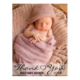 Thank You New Baby Modern Photo Heart Postcard