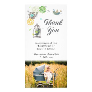 Thank You Note 1st Birthday Girls Template Personalized Photo Card