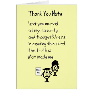 Funny Thank You Note Gifts - T-Shirts, Art, Posters & Other Gift ...
