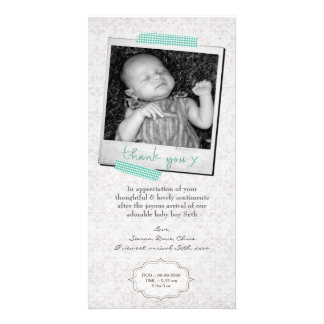 Thank You Note Baby Boy Announcement Template Personalised Photo Card