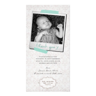 Thank You Note Baby Boy Blue Washi Tape Custom Photo Card
