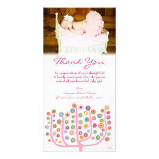 Thank You Note Baby Girl Photo Card Template