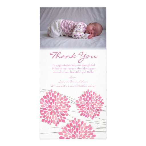 Thank You Note Baby Girl Photo Custom Template Personalized Photo Card