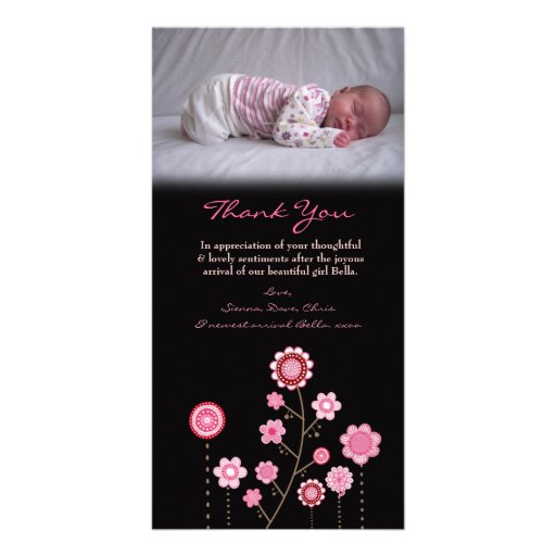 Thank You Note Baby Girl Pink Photo Card Template