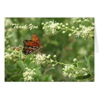 Thank You Note Blank Inside, Orange Butterfly Card