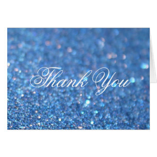 Thank You Note Card - Blue Glitter Fab