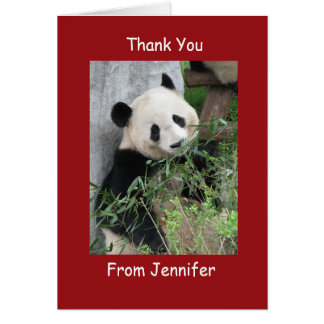 Thank You Note Card, Giant Panda, Custom Red Card