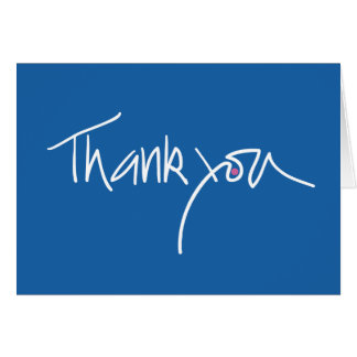 Thank you note card in blue with fuchsia dot