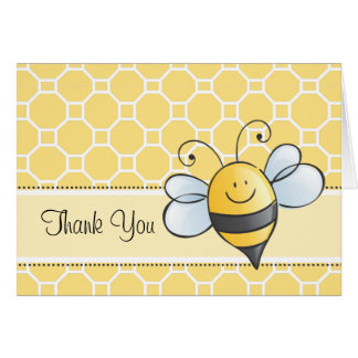 Thank You Note Card Yellow Bumble Bee Card