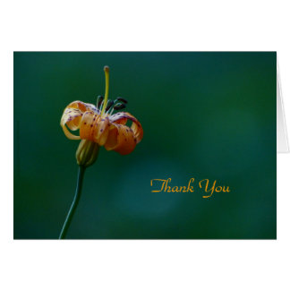 Thank You Note Card, Yellow Lily, Blank Inside Card