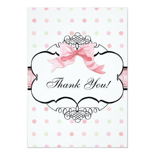 Thank You Note Cards - French Bow Dot Swirl vs2