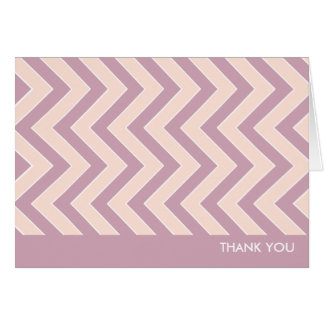 Thank You Note Cards Personalized - Mauve Chevrons
