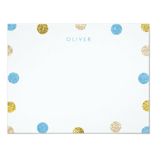 Thank You Note, Light Blue and Gold Glitter Card