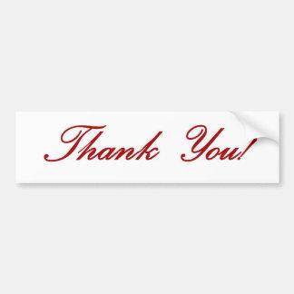 Thank you note - red script bumper sticker