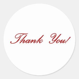 Thank you note - red script round sticker