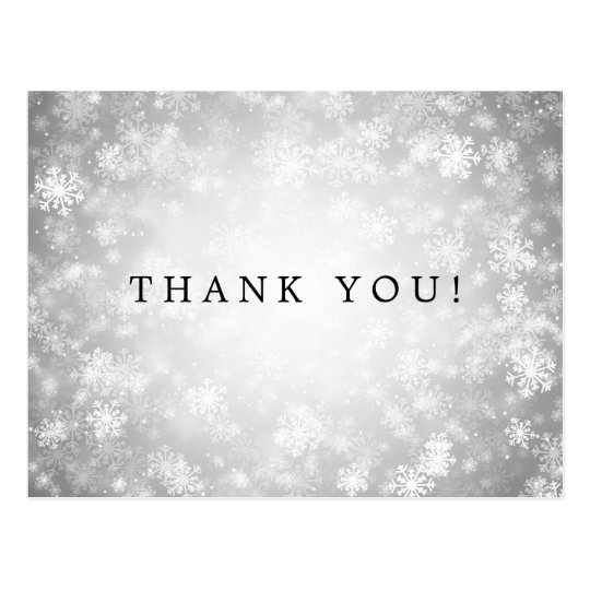Thank You Note Silver Winter Wonderland Postcard