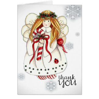 Thank You Note to Christmas Angel Note Card