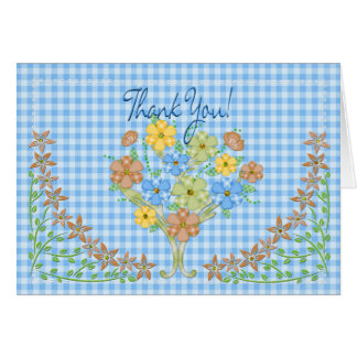 THANK YOU NOTECARD - BLUE GINGHAM/FLOWERS