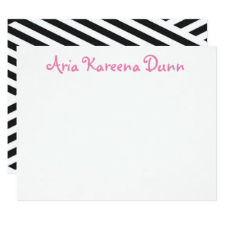 Thank You Notes Black White and Pink Card
