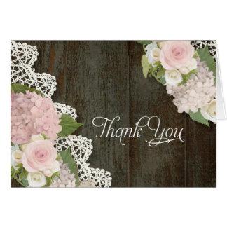 Thank You Notes Pink Hydrangeas Floral Dark Wooden