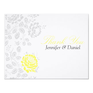 Thank You Notes Yellow and Grey Damask 11 Cm X 14 Cm Invitation Card