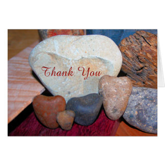 Thank You on Heart Shaped Rocks Greeting Card