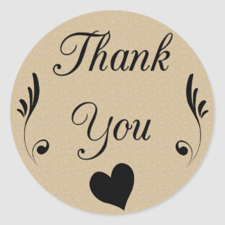 Thank You on Kraft Look Background with Heart Classic Round Sticker