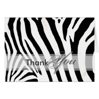 Thank You on the wild side, zebra - Customizable Greeting Card