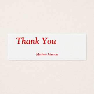 Thank You Option Name Personal Thin Gift Tag Mini Business Card