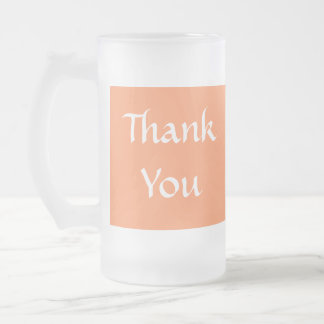 Thank You. Orange and White. Frosted Glass Mug
