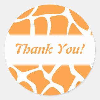 Thank You Orange and White Giraffe Pattern Round Stickers
