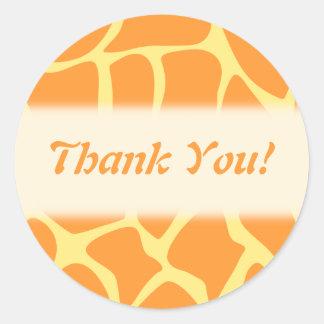 Thank You. Orange and Yellow Giraffe Pattern. Round Sticker