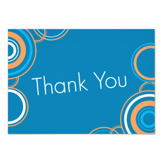 "Thank You - Orange & Blue 5"" X 7"" Invitation Card"