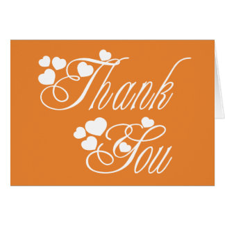 Thank You Orange & White Love Hearts  - Wedding Card